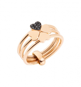 ANELLO LUCKY IN LOVE Oro rosa 9kt, Diamanti black trattati