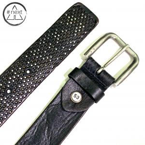 Minoronzoni 1953 - Cintura pelle invecchiata con micro rivetti - Nero