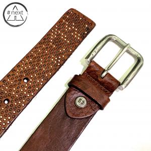 Minoronzoni 1953 - Cintura pelle invecchiata con micro rivetti - Marrone