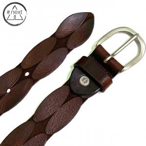 Minoronzoni 1953 - Cintura pelle invecchiata con lavorazione geometrica - Marrone