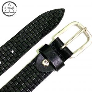 Minoronzoni 1953 - Cintura pelle invecchiata con lavorazione rete - Nero