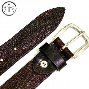 Minoronzoni 1953 - Cintura pelle invecchiata con micro forature - Marrone