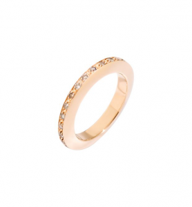 ANELLO DISC Oro rosa 9kt, Diamanti Brown