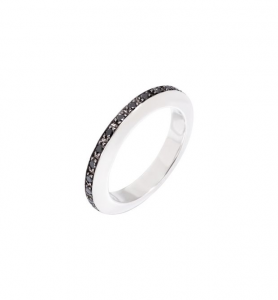 ANELLO DISC Argento, Diamanti black trattati