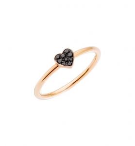 ANELLO CUORE Oro rosa 9kt, Diamanti black trattati