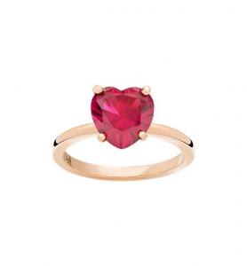 ANELLO 100% AMORE Oro rosa 9kt, Rubino sintetico