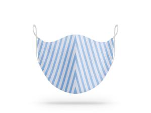 Maschera lavabile in cotone biologico fantasia righe bianco-azzurro