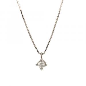 Collana Punto Luce Oro Bianco 18 ct Diamante 0,07 ct Griffes