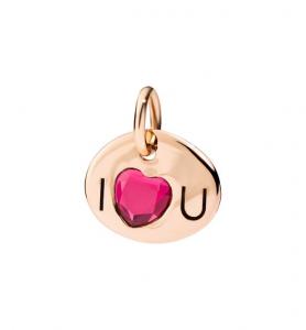 Piastrina I Love U in Oro Rosa 9Ct e Rubino Sintetico