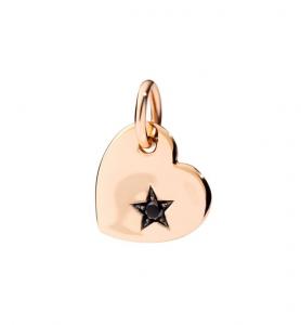 DODO Ciondolo Cuore Grande in Oro Rosa 9Ct con Diamante Black