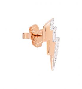 Orecchino Fulmine in Oro Rosa 9Ct e Diamanti Bianchi - Mezzo Paio