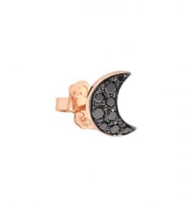 Orecchino Luna Oro Rosa e Diamanti Black - Mezzo Paio