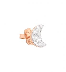 Orecchino Luna Oro Rosa e Diamanti Bianchi - Mezzo Paio