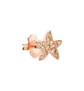 Orecchino Stella Marina Oro Rosa con Diamanti Brown a Lobo - Mezzo Paio