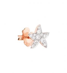 Orecchino Stella Marina Oro Rosa con Diamanti Bianchi a Lobo - Mezzo Paio