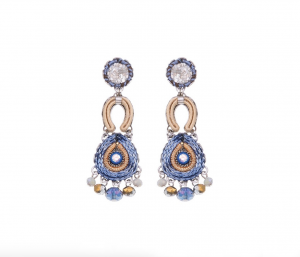 Sapphire Waves - Moon Earrings