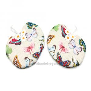Set 2 pz  - Presina beige con farfalle da appendere in stoffa - Handmade - Italy