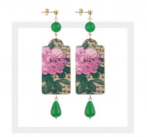 The Tag - Fiore Rosa Pietra Verde Piccolo