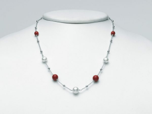 Collana Miluna Terra e Mare Corallo Rosso e Perle