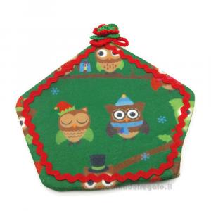 Presina natalizia verde con gufetti da appendere in stoffa - Handmade - Italy