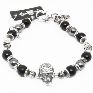 Silver Bracelet Skull Onix