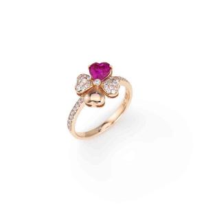Anello Quadricuore Rosa e Zirconi Bianchi e Rubino