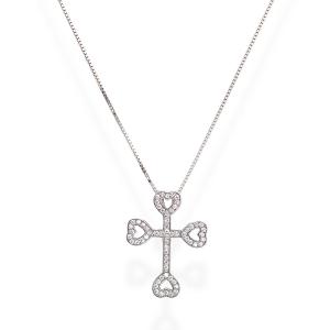 Collana Croce Ancorata Cuori