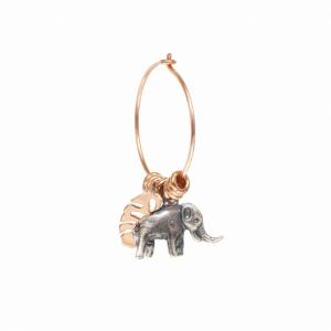 Mono Orecchino a Cerchio Piccolo Con Elefante e Foglia Monstera