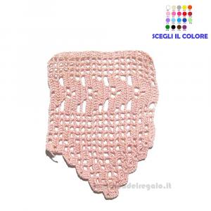 Bordo rosa lavorato a filet ad uncinetto 11.5 H cm Handmade - Italy
