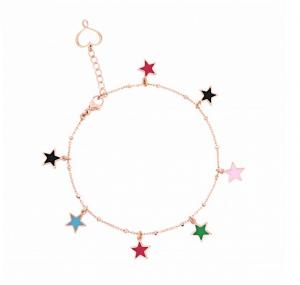 Bracciale catena con 7 stelle pendenti in smalto a cattedrale multicolor