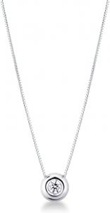 Collana Punto Luce in Oro Bianco 18 ct e Diamante 0,15ct