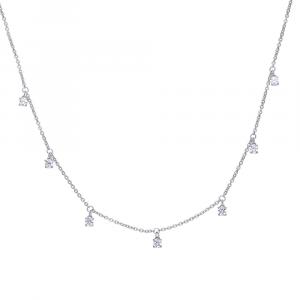 Collana In Filigrana D'argento con Zirconi Quadrati