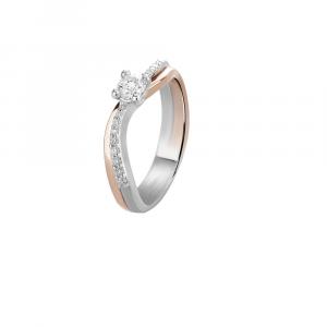 Anello Lux Gioielli, Solitario in Oro 18kt Bianco e rosa con Diamanti