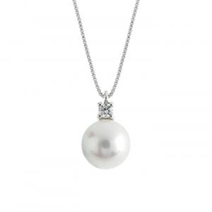 Collana Lux Gioielli, in Oro 18kt con Diamanti e Perla 6-6,5