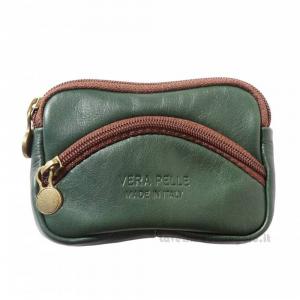 Portamonete Verde Scuro con Zip in pelle - Pelletteria Fiorentina