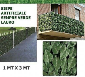 Siepe artificiale laurel verde scuro 100x300cm