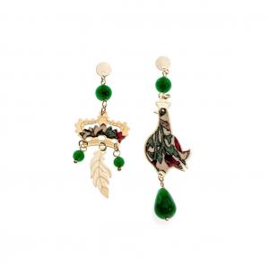 Orecchini Regalina Seta Pietre Piccolo Verde