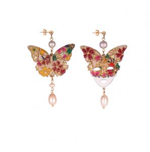 Orecchini Farfalla E Maschera Seta Piccolo Perla
