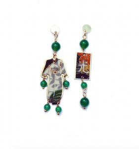 Orecchini Kimono Argento Mini Verde