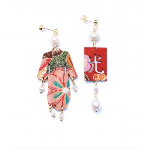 Orecchini Kimono Seta Piccolo Perla