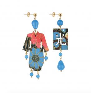 Orecchini Kimono Seta Piccolo Azzurro