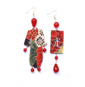 Orecchini Kimono Seta Grande Rubino