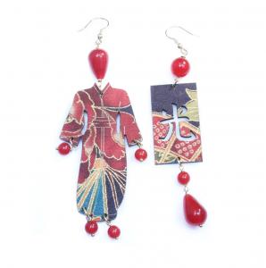 Orecchini Kimono Seta Piccolo Rubino