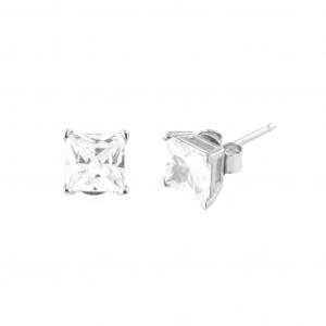 By Simon - Orecchini in argento con cubi zirconi bianchi