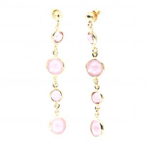By Simon - Orecchini pendenti in arg. 925 con punti luce rosa