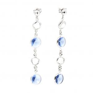 By Simon - Orecchini in argento pendenti con punti luce azzurri