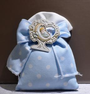Sacchetto pois azzurro con Bimbo (confetti vari gusti e tipologie)