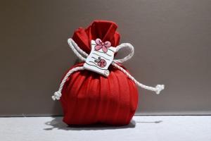 Sacchetto plissè Rosso con Pergamena (confetti vari gusti e tipologie)
