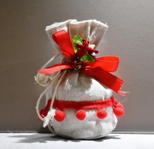 Sacchetto Iuta pon pon Rosso (confetti vari gusti e tipologie)