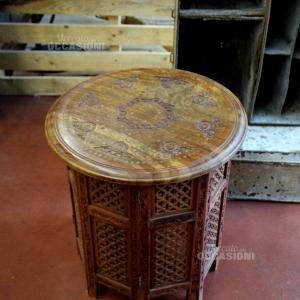 Tavolino Etnico Legno Con Decori Base A Fisarmonica Ottagonale 45cm Diametro